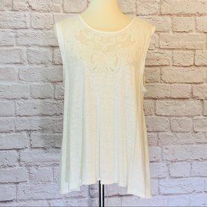 Free People Cream tank, lace, front and back, M